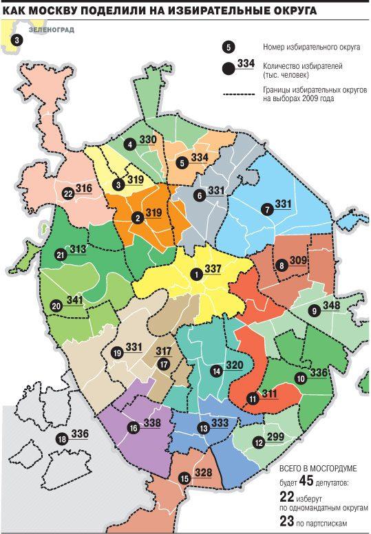 Новая схема одномандатных округов в Москве