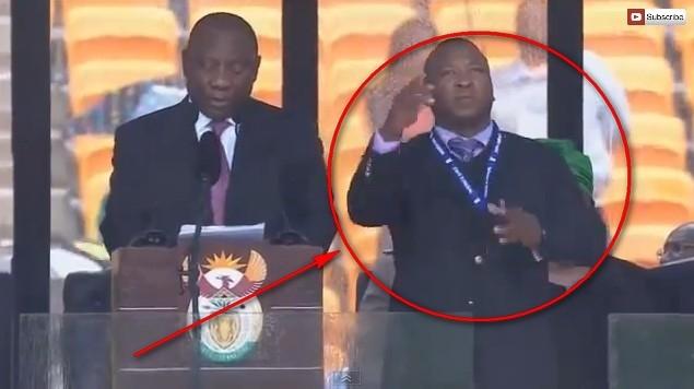 На церемонии прощания с Манделой объявился лжесурдопереводчик