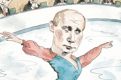 The New Yorker нарисовал на обложке Путина в виде фигуриста