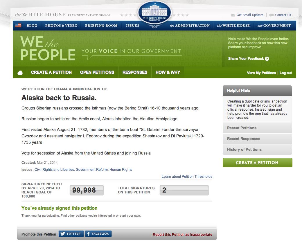 На сайте белого дома началось голосование за присоединение Аляски к России