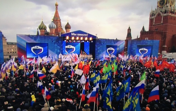 Путин пришел на митинг на Красной Площади