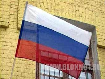 На фасаде отдела милиции в Горловке вывесили флаг России