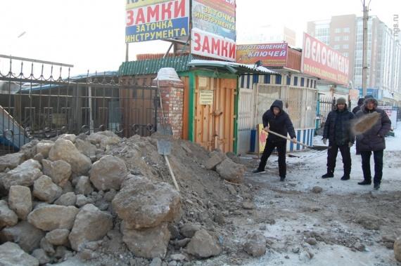 Во время сноса уличного рынка в Красноярске нашли тайник с наркотиками