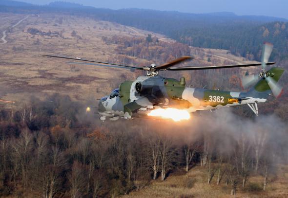 Кадры вертолетной атаки МИ-24 под Славянском