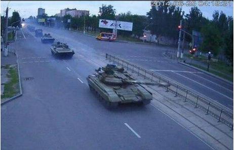 По Луганску проехали танки