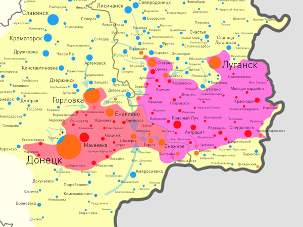 Украинская армия установила контроль над основными дорогами, соединяющими Донецк и Луганск