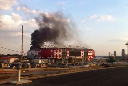 Пожар произошел рядом с новым стадионом «Спартака»