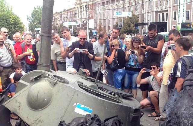 В День независимости Украины на площади Ленина в Донецке выставлена трофейная техника