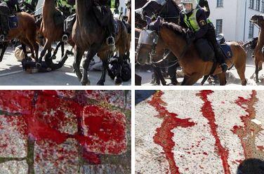 В Швеции конная полиция покалечила антифашистов