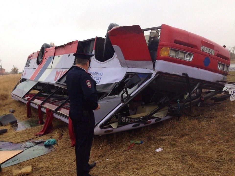 В Ростовской области перевернулся пассажирский автобус - есть пострадавшие