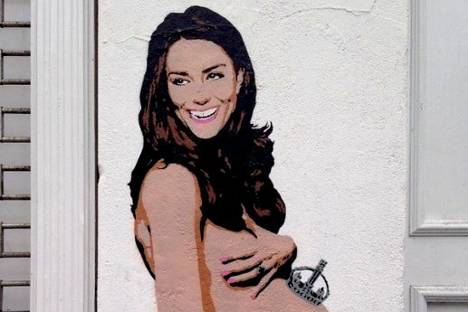 В Лондоне представили граффити с голой Кейт Миддлтон
