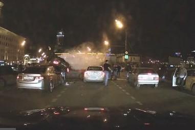 В Сети появилось видео московского ДТП с 9 машинами на Садовом кольце