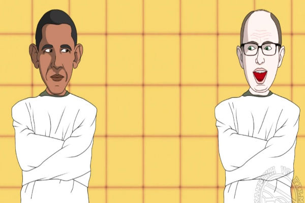 Россиянин надел на Обаму и Яценюка смирительные рубашки