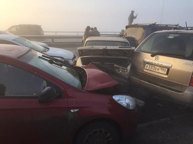 37 автомобилей столкнулись утром в Подмосковье