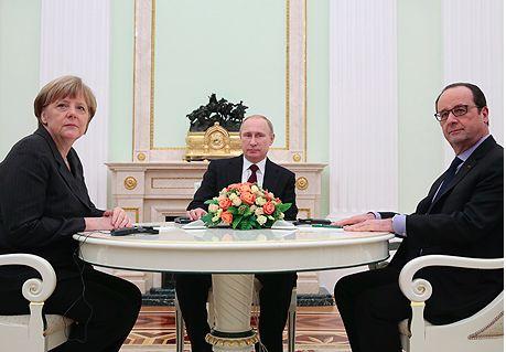 Переговоры Путина с Меркель и Олландом завершились
