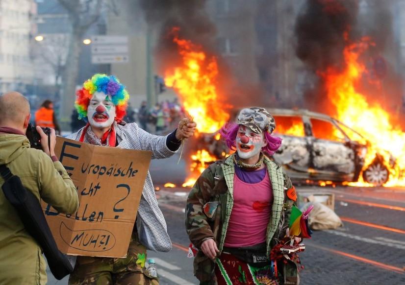 Во Франкфурте произошли столкновения демонстрантов с полицией