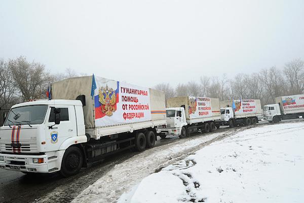 Колонна с гуманитарной помощью от РФ отправилась в Донбасс