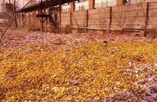 На улицы Донецка вывалили тонну шоколадных конфет