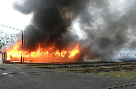 Под Москвой сгорел вагон электропоезда