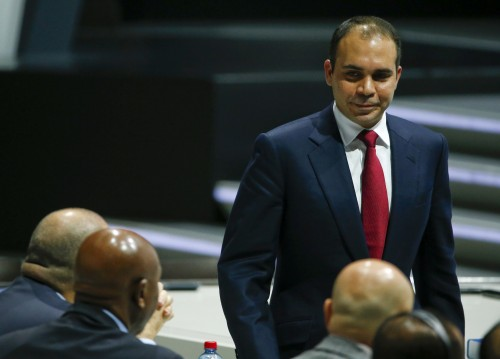 Prince Ali bin Al Hussein of Jordan, FIFA presidential candidate, returns to his seat after a speech at the 65th FIFA Congress in Zurich