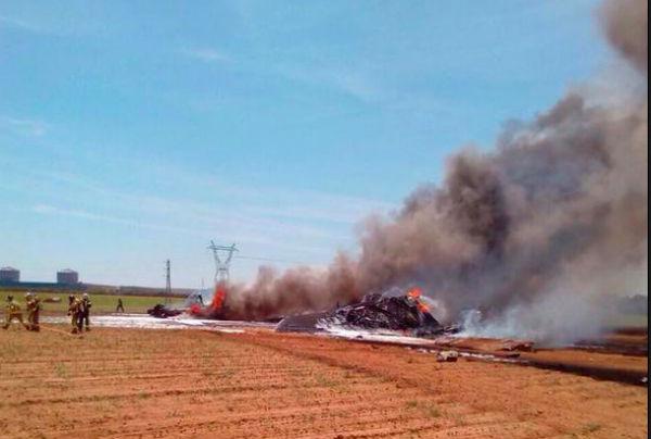Военный самолет упал на фабрику Coca-Cola