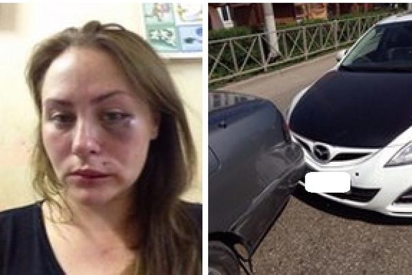 Автоледи избила женщину, в машину которой врезалась