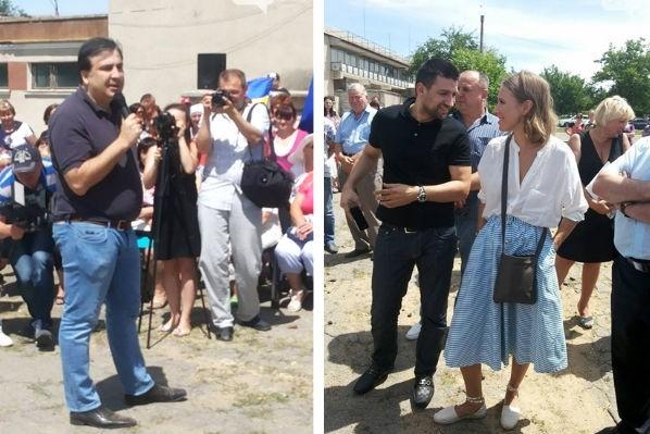 Саакашвили в компании Собчак прогулялся по полям под Одессой