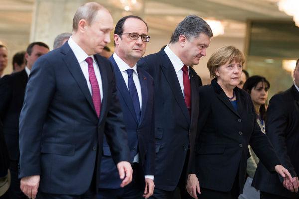 Путин обсудил с Порошенко, Меркель и Олландом процесс реализации минских договоренностей