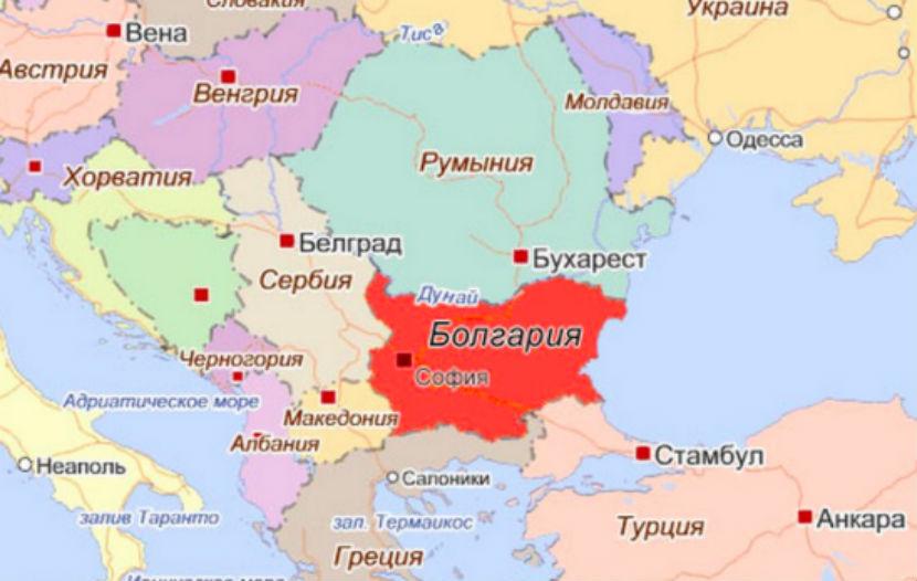 Где находиться болгария карта