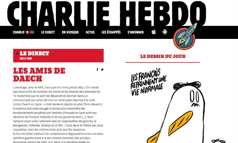 """Скандальная редакция Charlie Hebdo нарисовала """"призрачную"""" карикатуру на теракты в Париже"""