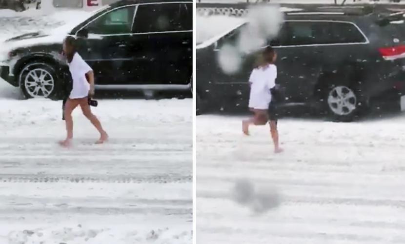 Полуголую американку без обуви выгнали на улицу в метель