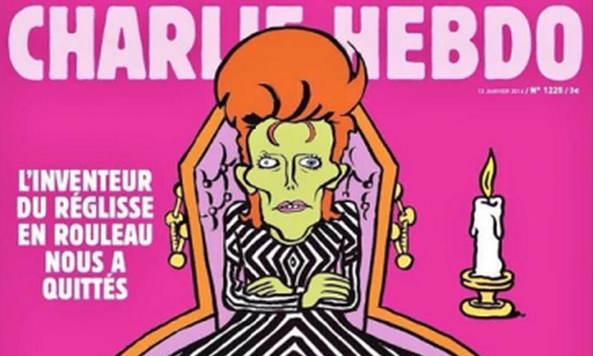 Скандальный Charlie Hebdo опубликовал на обложке карикатуру на смерть рок-идола Дэвида Боуи