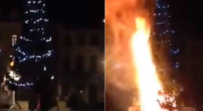 В Брюсселе мигранты подожгли рождественскую елку