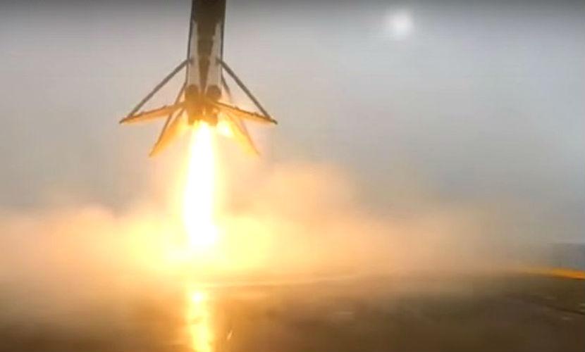 Завораживающие кадры сокрушительного приземления первой ступени ракеты Falcon появились в Интернете