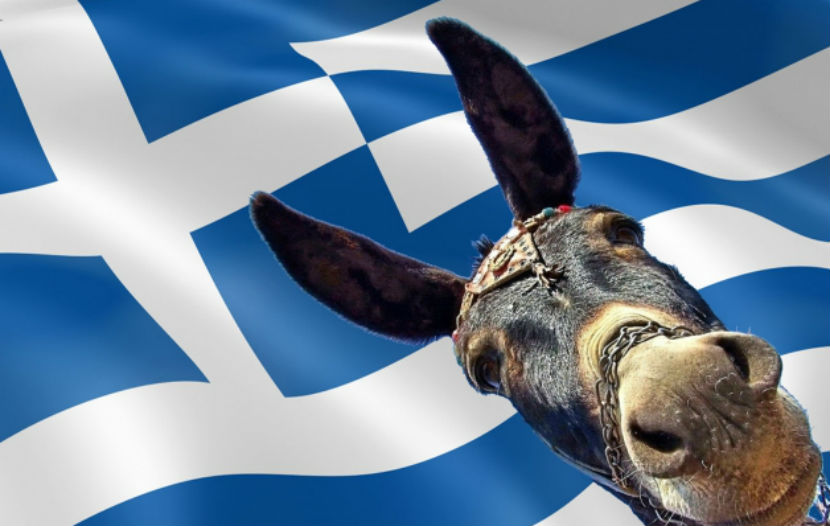 Осёл возглавил акцию протеста против пенсионной реформы в Греции