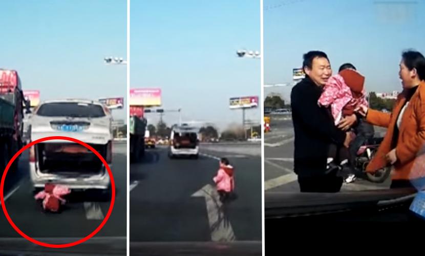 Видео с двухлетним малышом, выпавшим из фургона во время движения, шокировало Интернет