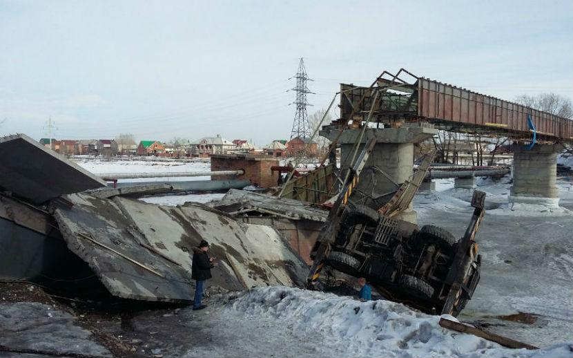 Четверо рабочих получили травмы во время обрушения пролета моста под Красноярском