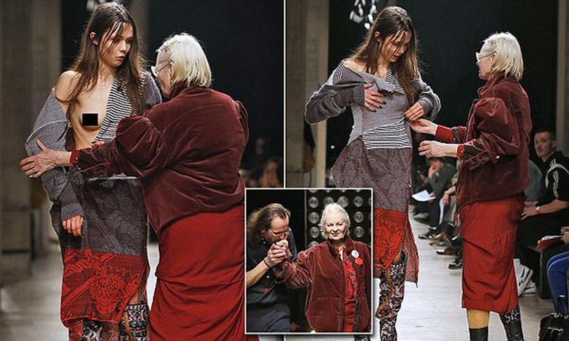 Обнаженная грудь модели вынудила Вивьен Вествуд спасти ее от всеобщего позора