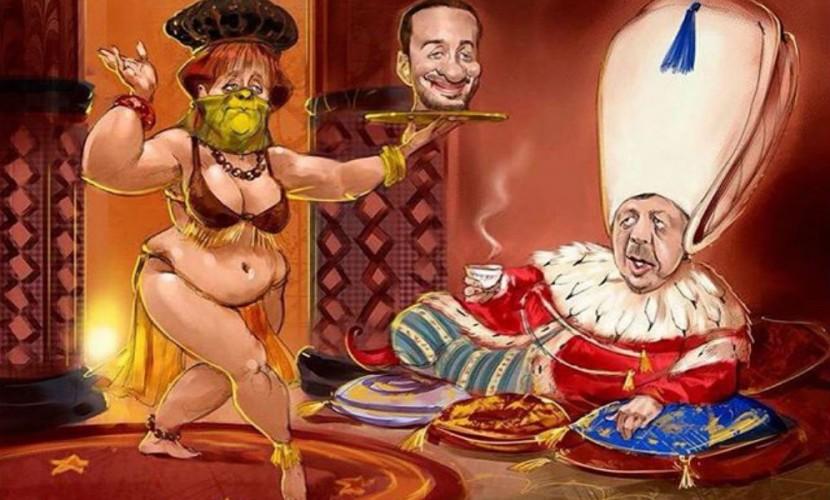 Венедиктов опубликовал карикатуру на Меркель в виде наложницы Эрдогана из солидарности с немецким журналистом
