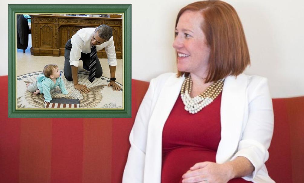В Сети появилось фото ползающего по полу Барака Обамы с маленькой дочерью Джен Псаки