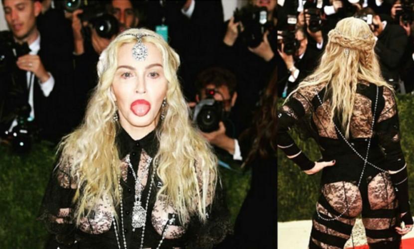 Мадонна с обнаженной грудью и полуголая Ким Кардашьян удивили гостей бала Института костюма