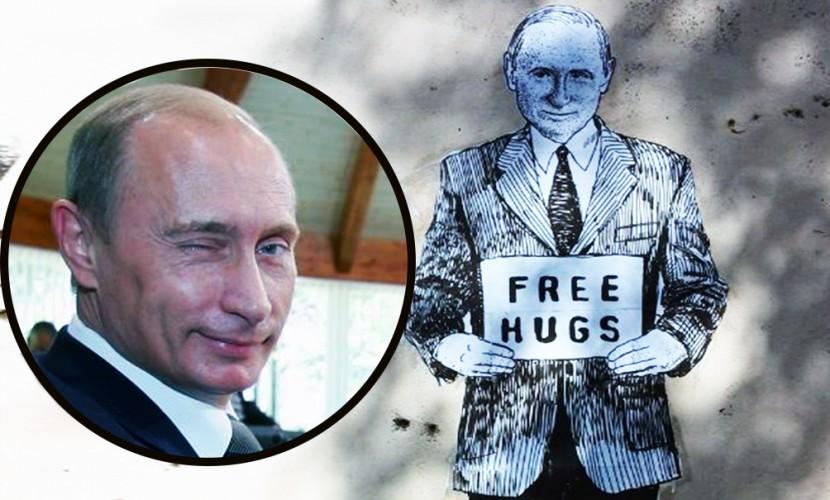 Граффити с предлагающим обняться Путиным привели в восторг жителей Санкт-Петербурга