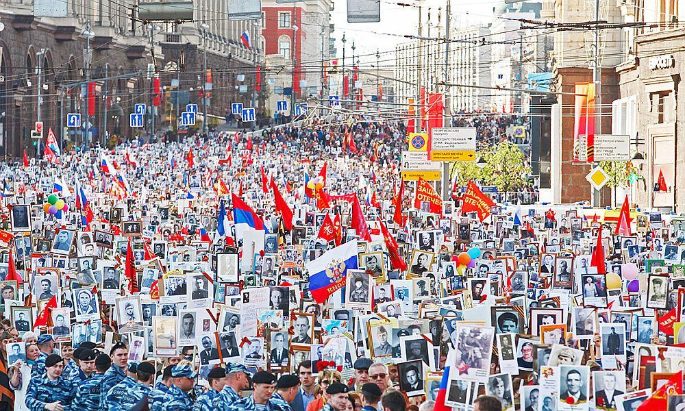В московском строю «Бессмертного полка» в День Победы прошли 650 тысяч человек