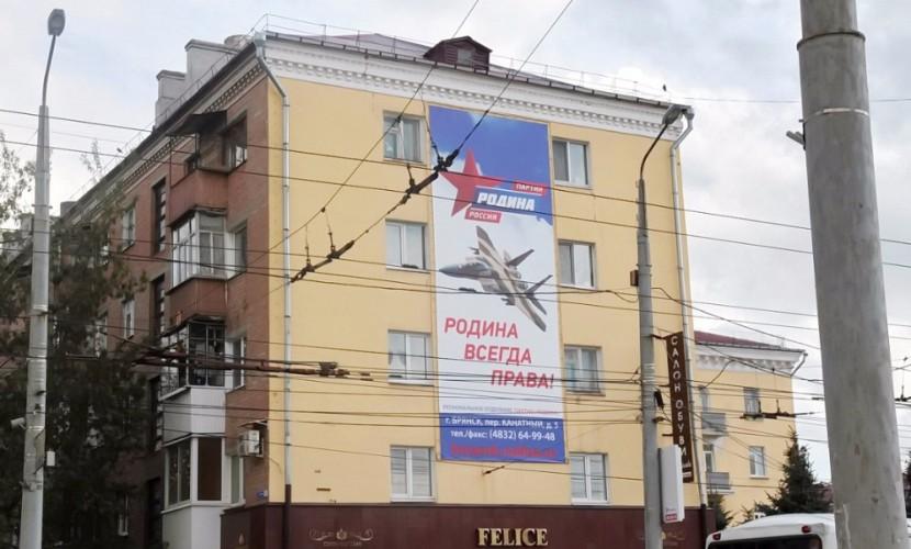 Партия «Родина» оскандалилась в Брянске плакатом с истребителем ВВС США