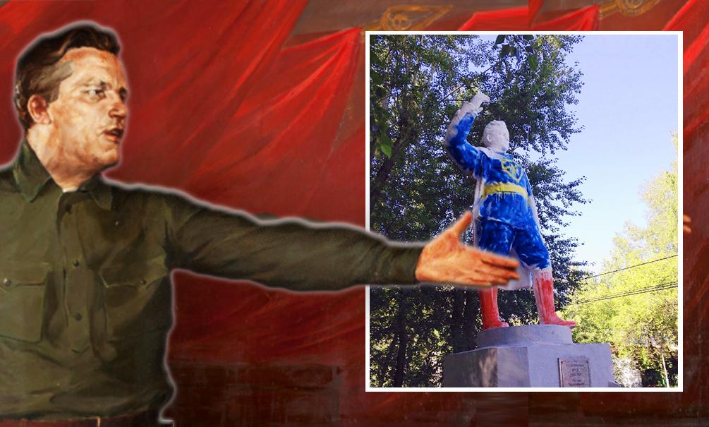 Вандалы разукрасили под Супермена памятник революционеру Кирову в Томске
