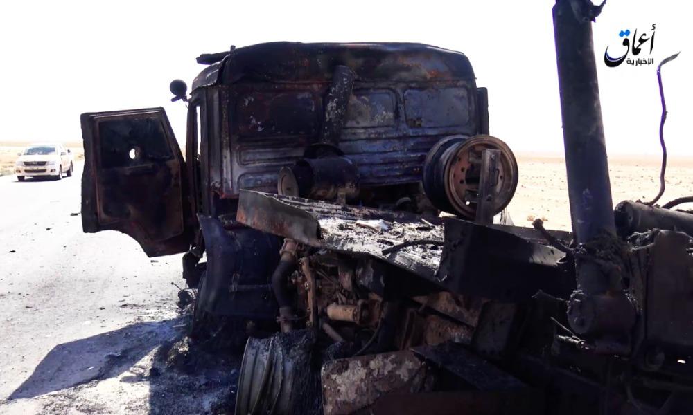 Боевики ИГ опубликовали видео с места взорванного в Сирии грузовика с российскими военными
