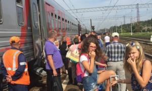 Поезд Самара - Москва «разорвало» на части возле станции «Луховицы»