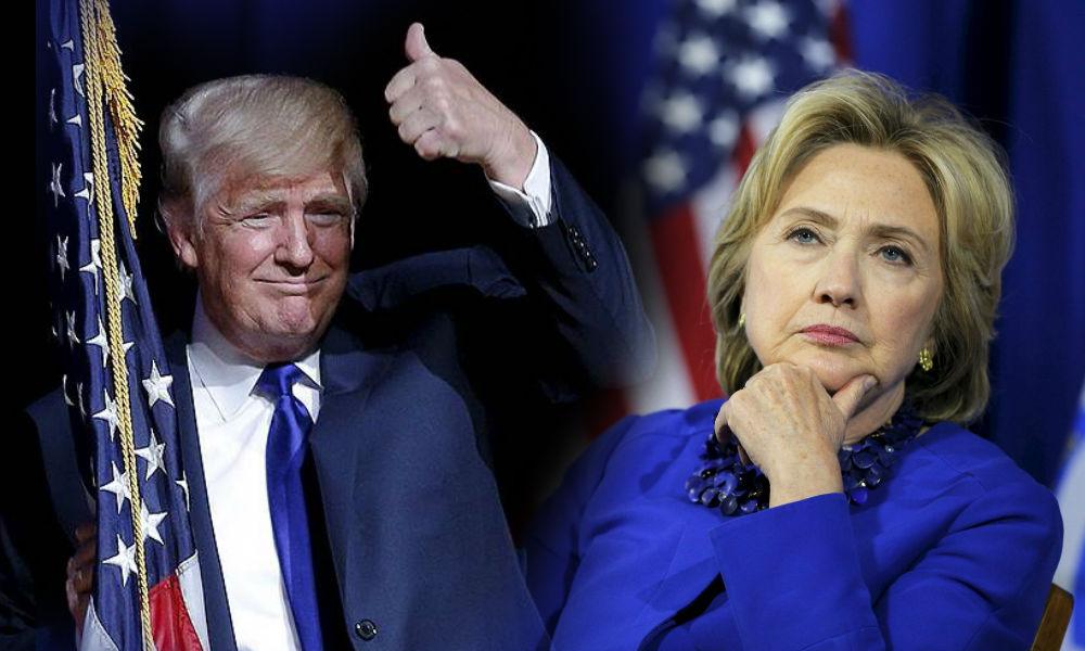 Первая женщина-кандидат в президенты США Клинтон уступила в рейтинге миллиардеру Трампу