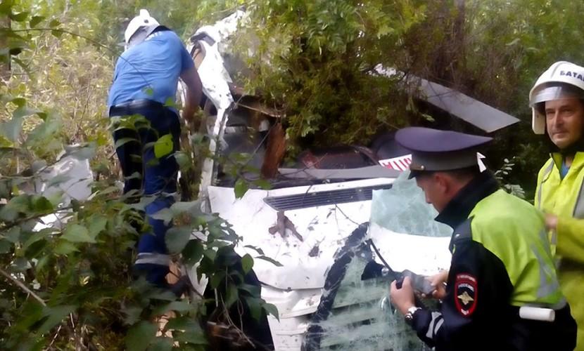 Опубликовано видео с места смертельного ДТП туристического автобуса из Ялты