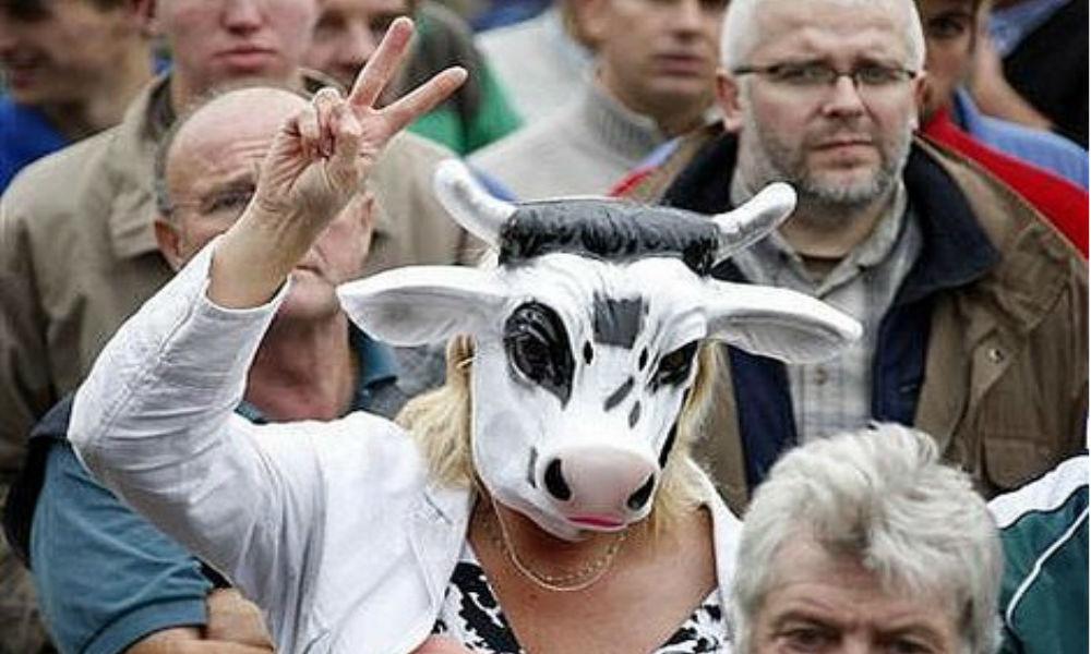 Обанкротившиеся фермеры Эстонии провели акцию протеста с требованием отмены антироссийских санкций